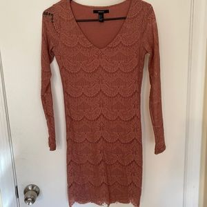 Pink Lace Long-sleeve Bodycon Dress